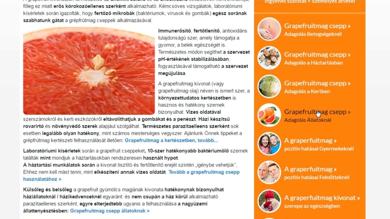 grapefruitmag csepp belféreg élelmiszer baktériumok paraziták